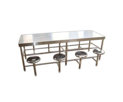 Stainless steel dining table with chair -8 seater
