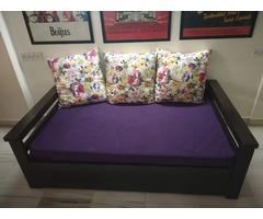 Spacious sofa-cum-bed with magazine racks