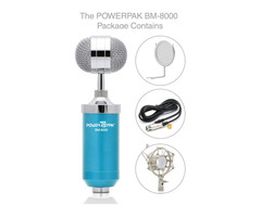 Powerpak BM 8000 Condenser Sound Studio Recording Broadcasting Microphone (Blue)