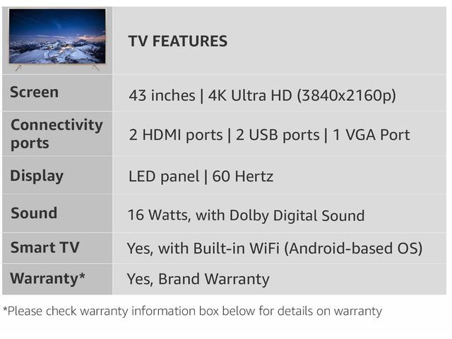 TCL 109.3 cm (43 inches) 4K Ultra HD Smart LED TV L43P2US (Golden) - 6/9