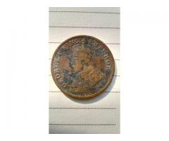 99 years old 1/4th anna copper coin minted under British India under king George IV