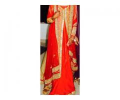 Stylish wedding gown with overcoat.