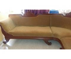 L Shaped wooden Sofa with intricate carvings