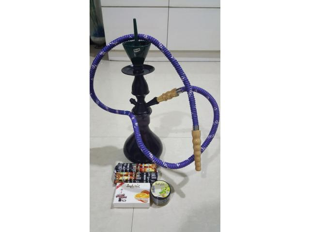 MYA Hookah Hukkah Hukka with Flavors and Charcoal Free