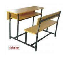 Scholar Knockdown double wooden desk and seat