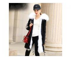 Quantity=10pcs Fashion Long style coats Parka Fox Collar Genuine leather Inner container