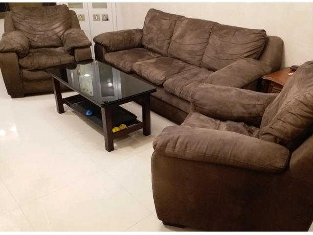Brown suede sofa set (3+1+1)with center table and one side table